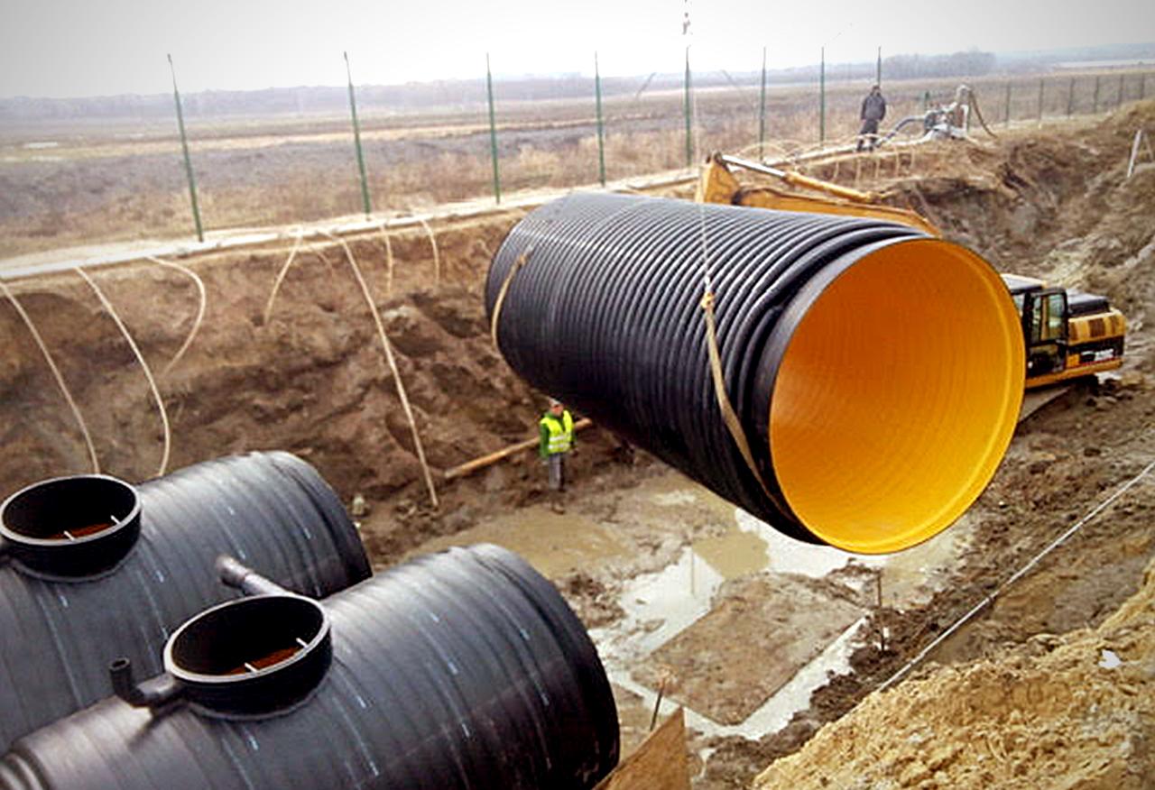 Kaczmarek Malewo - Zbiorniki Diamir - System odwodnienia arterii miejskiej z użyciem Zbiorników Diamir 3200 mm.